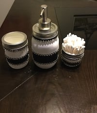 Black and white jewelled 3pc bathroom jar set.. soap pump jar, toothpaste/toothbrush and Q-tip jars  Custom made orders. Serious replies only, please. Thank you   Toronto, M1B 2K6