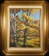 Oil Painting LANDSCAPE Autumn Trees VINTAGE Signed Original Art IMPRESSIONISM Bound Brook