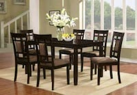 rectangular brown wooden table with six chairs dining set Laurel, 20708