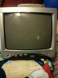 grey and black CRT TV