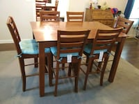 Rectangular brown wooden table with six chairs dining set null, 02703