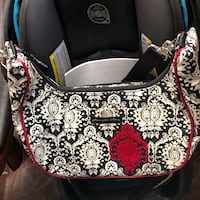 Black and white floral leather hobo bag Baton Rouge, 70810