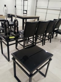 rectangular black wooden table with four chairs dining set El Paso