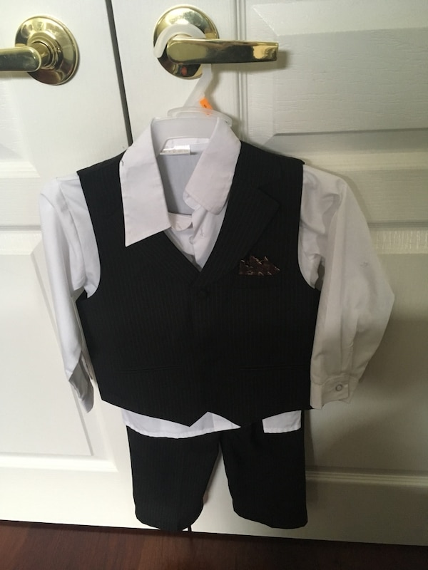 toddler's white dress shirt and black waistcoat