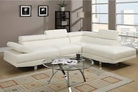 New Sectional with adjustable headrest. White leather. Free Delivery ! Culver City