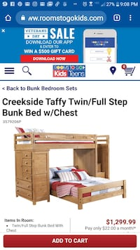 Twin over full wood bunk bed with stairs/ dresser Denham Springs