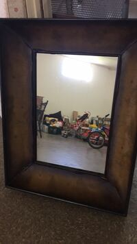 Old World Real Leather Map Mirror Rayne, 70578