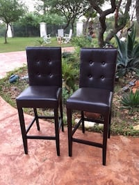 Used Two Dark Brown Faux Leather Bar Stools For Sale In