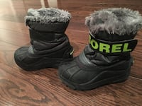 Sorel winter boots size 9 in great condition! Can be used for a boy or girl! Black with lime green letters!  Brampton, L7A 3B2