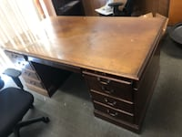 brown wooden single pedestal desk Waldorf, 20601