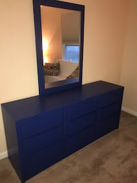Blue wooden dresser with mirror Alexandria, 41001