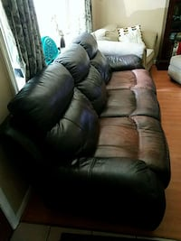 brown leather 3-seat recliner sofa Crownsville, 21032