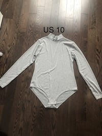 Grey High Neck Long Sleeve Bodysuit