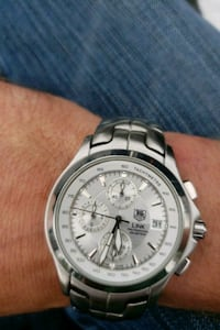 round silver chronograph watch with link bracelet Portland, 97233