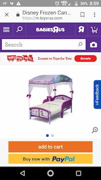 purple and white Disney Frozen theme canopy bed frame