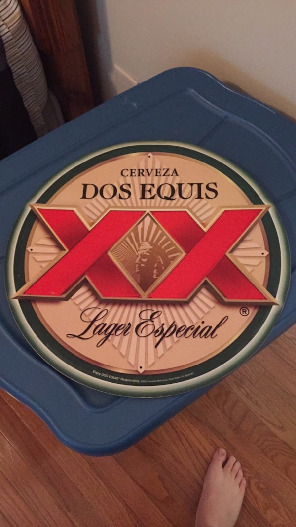 Dos equis aluminum beer sign