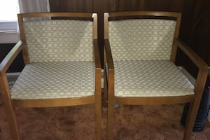 Wood and Cloth Chairs