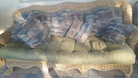 brown and blue fabric 3-seat sofa