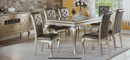 Rectangular steel grey wooden table with chairs