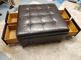 4 Drawer Leather Ottoman