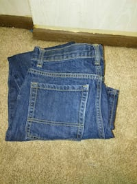 washed blue denim folded jeans