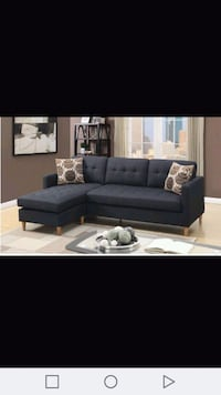 tufted blue suede sectional sofa Austin