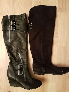 par sorte skinn høy side zip wedge boots