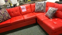 red leather sectional sofa with throw pillows Philadelphia, 19137