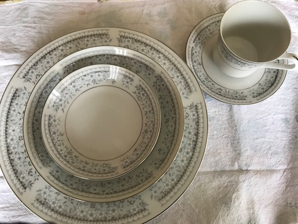 White Dishes With Little Blue Flowers And Platinum Trim Other Pieces