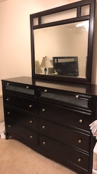 Queen bed frame, nightstand, dresser with mirror Chantilly, 20151