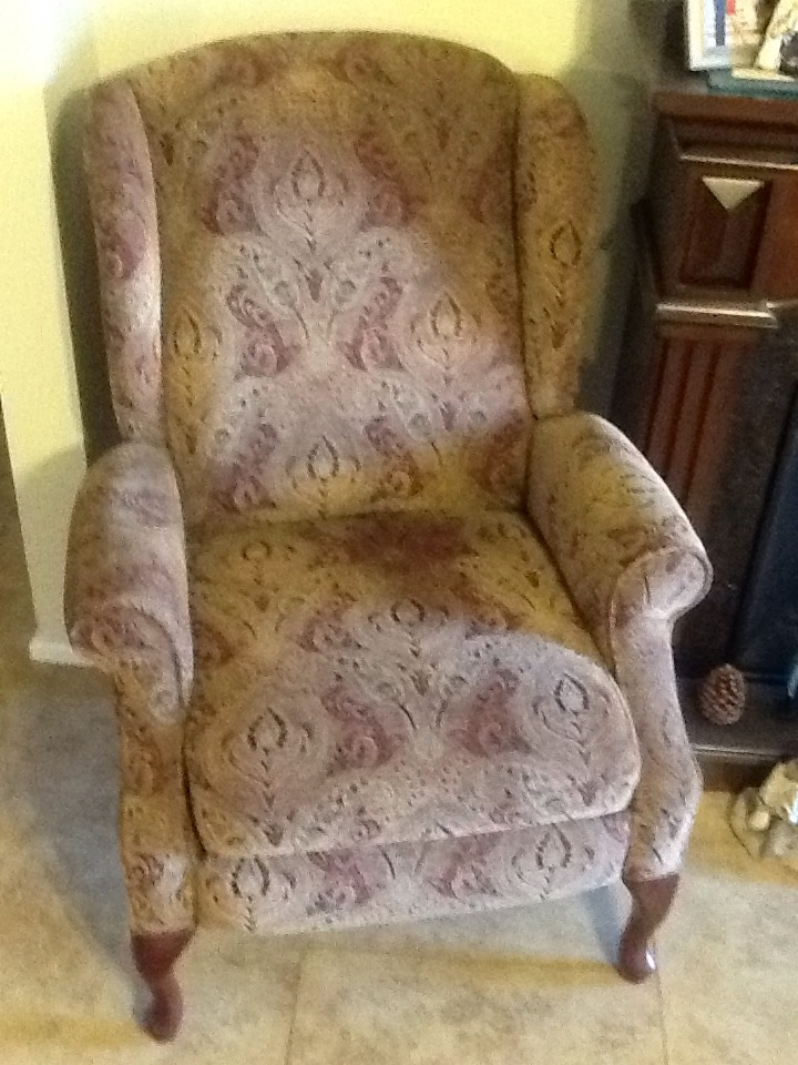 Brown Paisley Fabric Wingback Chair