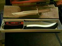 red handled hunting knife with box
