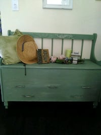Seafoam green bench