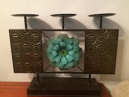 Black and green floral decor candle holder