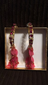 Indian pink earrings Surrey, V3W