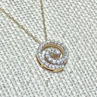 Genuine 10k Yellow Gold Diamond Spiral Pendant with 10k Chain Ashburn