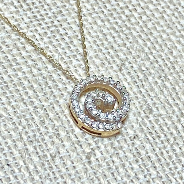 Genuine 10k Yellow Gold Diamond Spiral Pendant with 10k Chain d337a972-9c90-4a27-8020-9c6395546d49