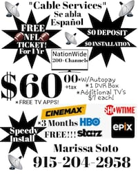 FREE! Cable! FREE NFL TICKET! $100 Rewards Card El Paso
