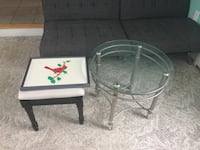 two clear glass-top tables with gray steel frames Old Town, 04468