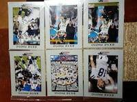 assorted football player trading cards