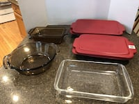 Lot of 5 Glass Baking Dishes 2 With Lids $15 for All Manassas