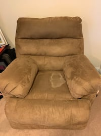 Suede Lazy Boy recliner chair