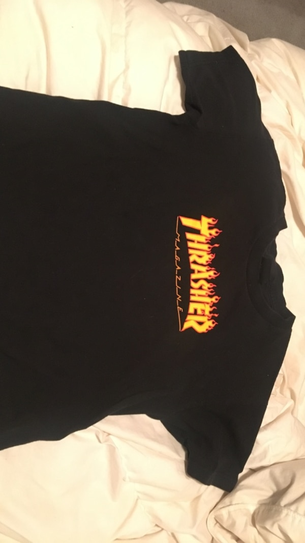 Black flame trasher shirt