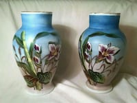 Pair hand painted porcelain vases