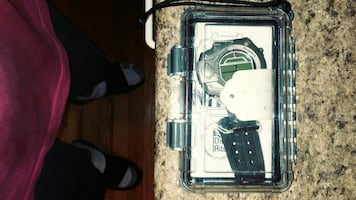 silver digital watch with case brand new dive watch