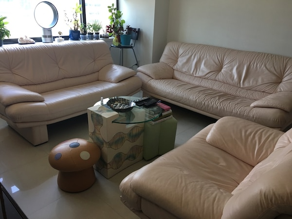 Italian contemporary leather sofa set