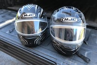 Two snow mobile helmets
