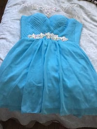 blue and white spaghetti strap dress