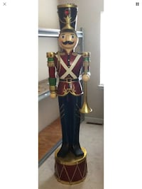 Giant 6'4 Vintage Toy Soldier holding Trumpet standing On a Drum Christmas Decoration Randallstown, 21133
