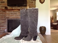 "WOW ""Gray suede knee-high heel boots"" Thomasville, 27360"
